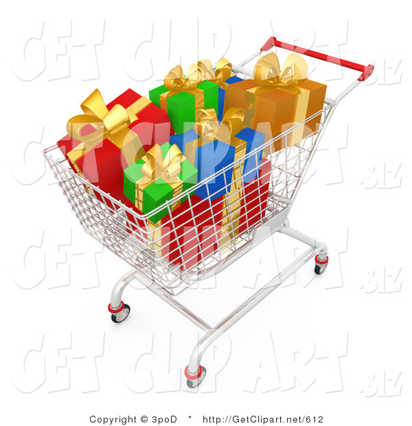 3d Clip Art of a Shopping Cart Full of Wrapped Christmas Gifts in a Store