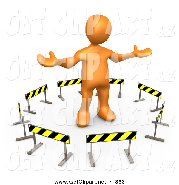 3d Clip Art of a Shrugging Orange Person Stuck in the Middle of a Circle of Caution Signs