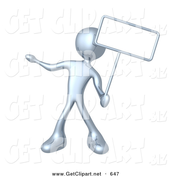 3d Clip Art of a Silver Man Standing and Holding up a Blank Sign for an Advertisement