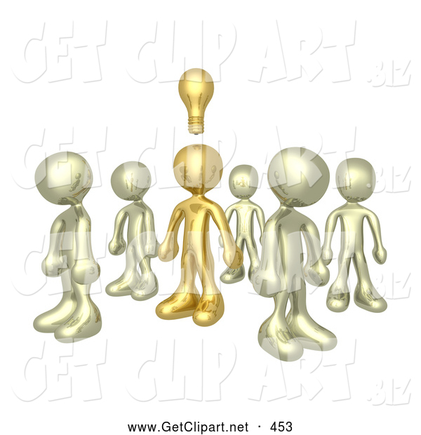 3d Clip Art of a Single Brass Person in a Group of Gold People, Thinking up a Creative Idea, with a Lightbulb over His Head
