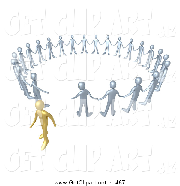 3d Clip Art of a Single Gold Person Walking Away from a Circle of Silver People, Symbolizing Different Beliefs, Quitting or Being Fired