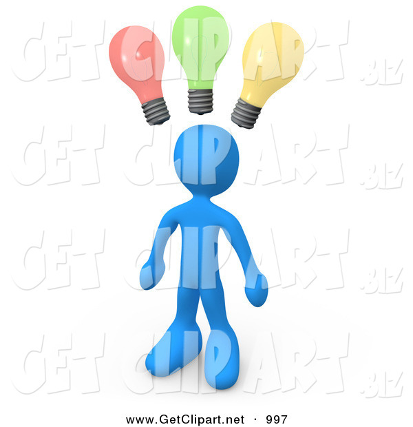 3d Clip Art of a Smart and Creative Blue Guy with Different Colored Lightbulbs Symbolizing Ideas Above His Head