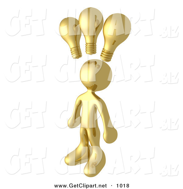 3d Clip Art of a Smart and Creative Golden Man with 3 Lightbulbs Symbolizing Ideas Above His Head