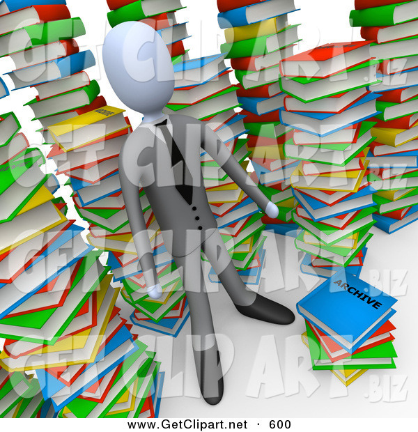 3d Clip Art of a Smart Businessman Doing Research in a Library Full of an Unorganized Mess of Colorful Stacked Books