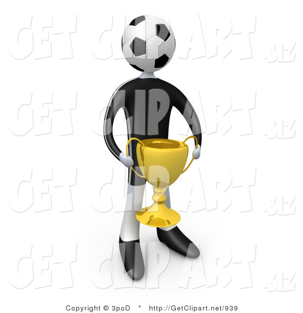 3d Clip Art of a Soccer Player Man with a Soccer Ball Head Holding a Golden Trophy Cup