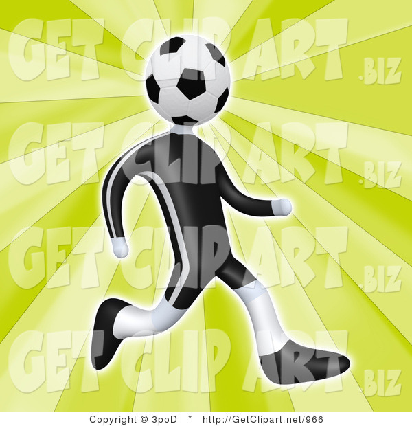 3d Clip Art of a Soccer Player Man with a Soccer Ball Head Running