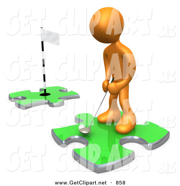 3d Clip Art of a Sporty Orange Person Standing on a Green Puzzle Piece, Teeing off and Aiming for a Hole on Another Piece, Symbolizing Goals on White