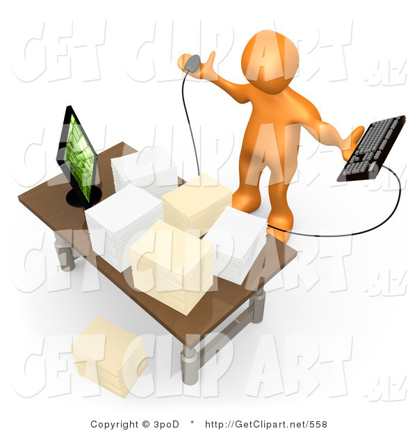 3d Clip Art of a Stressed Orange Employee Looking at Their Crowded Desk Topped with Stacks of Paperwork, Trying to Figure out Where They Can Put Their Computer Keyboard