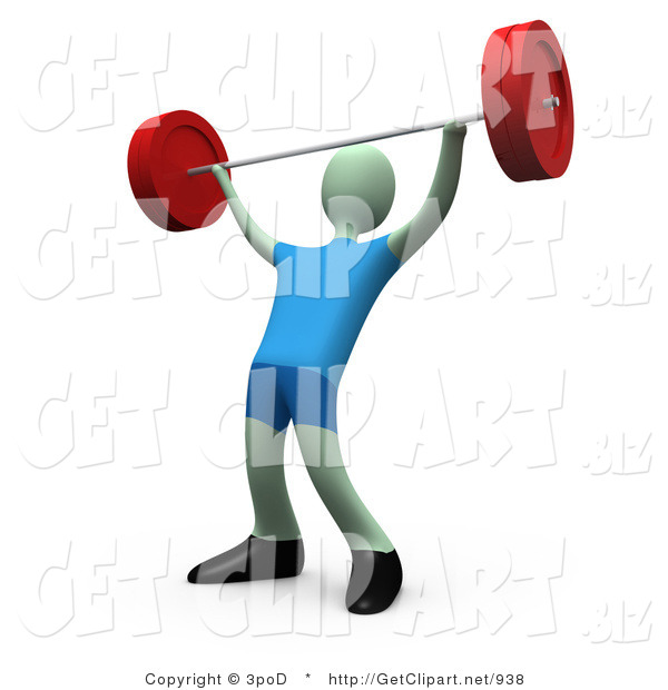3d Clip Art of a Strong Male Lifting Heavy Barbell Weights Above His Head in a Fitness Gym