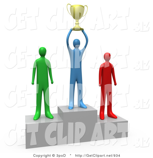 3d Clip Art of a Successful Athlettic Person Holding a Golden Trophy Cup up Above His Head and Standing on the First Place Spot on a Podium While the Two Runners up Stand on Both Sides