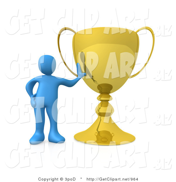 3d Clip Art of a Successful Blue Athlete Person Leaning Against His Oversized Trophy Cup