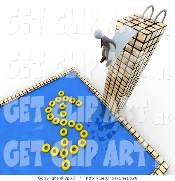 3d Clip Art of a Successful Business Person Standing at the Edge of a Diving Board at the Top of a Tall Skyscraper Building, Preparing to Jump into a Pool with Yellow Inner Tubes Forming the Shape of a Dollar Sign