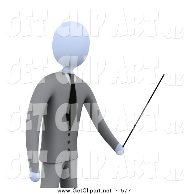 3d Clip Art of a Successful Businessman, Boss or Manager, Holding a Pointer Stick During a Presentation, Training Class or Meeting
