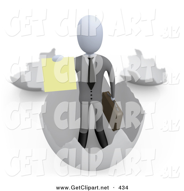 3d Clip Art of a Successful Businessman Carrying a Briefcase and Coming out of an Eggshell and Holding out a Yellow Sign