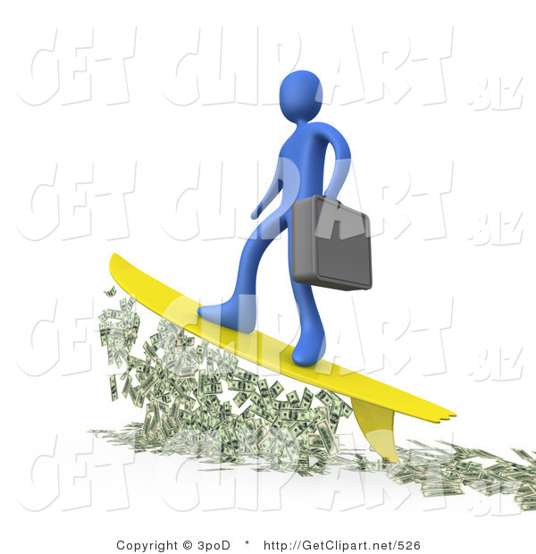 3d Clip Art of a Successful Male Blue Business Person Carrying a Briefcase and Standing Proud on a Yellow Surfboard While Surfing on Money