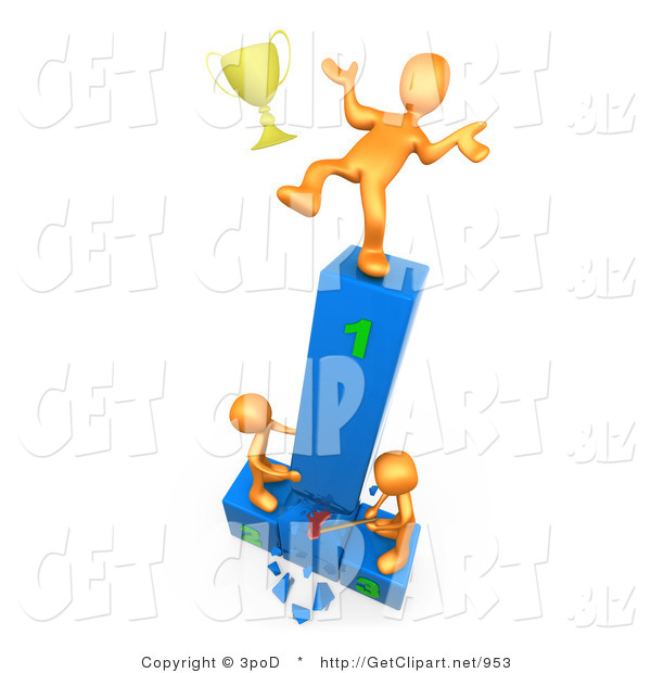 3d Clip Art of a Successful Orange Athlete Slipping and Dropping His Golden Trophy Cup While the Two Runners up Try to Hack down the First Place Podium in Revenge