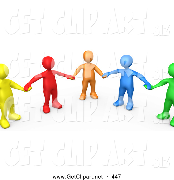 3d Clip Art of a Supportive Group of Colorful and Diverse People Holding Hands and Standing in a Circle