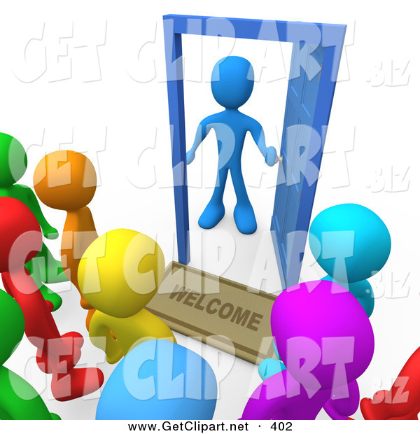 3d Clip Art of a Surprised Blue Man Standing at an Open Door with a Welcome Mat, Looking out at a Crowd of Welcome but Unsuspected Visitors