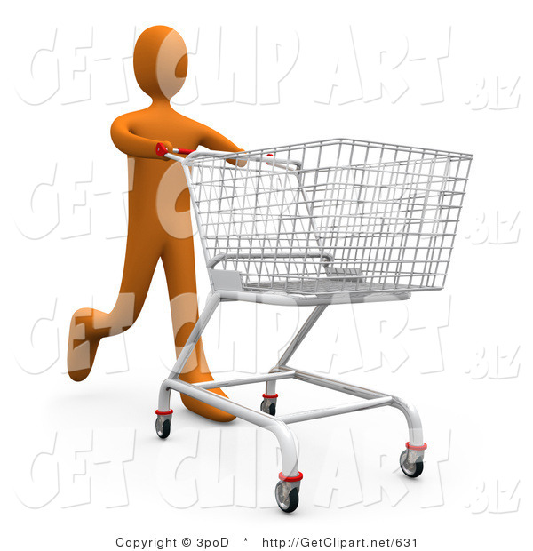 3d Clip Art of a Tall Orange Person Running Through a Store and Pushing a Shopping Cart