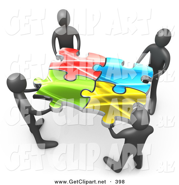 3d Clip Art of a Team of 4 Black People Holding up Connected Pieces to a Colorful Puzzle, Symbolizing Excellent Teamwork, Success and Link Exchanging
