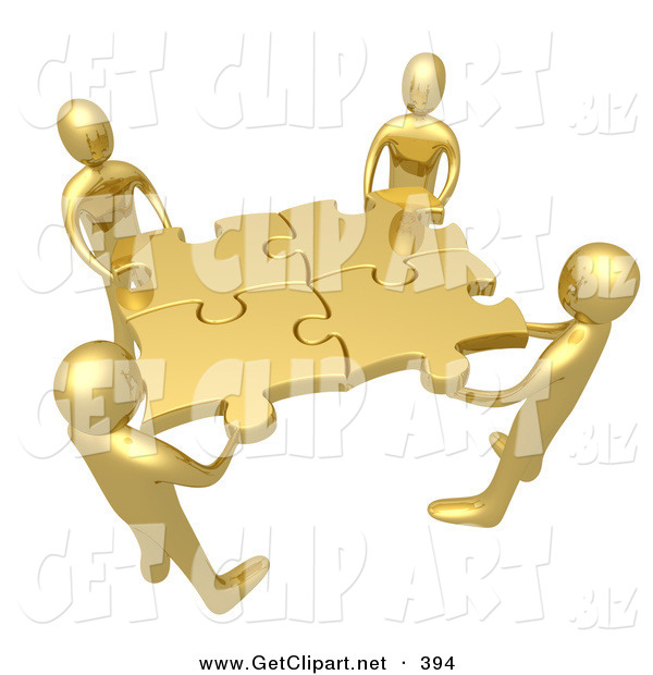 3d Clip Art of a Team of 4 Gold People Holding up Connected Pieces to a Gold Puzzle, Symbolizing Excellent Teamwork, Success and Link Exchanging