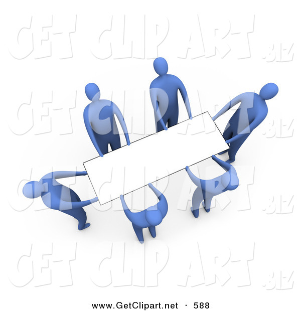 3d Clip Art of a Team of Blue People Working Together to Lift a Blank White Sign Which Is Ready for an Advertisement