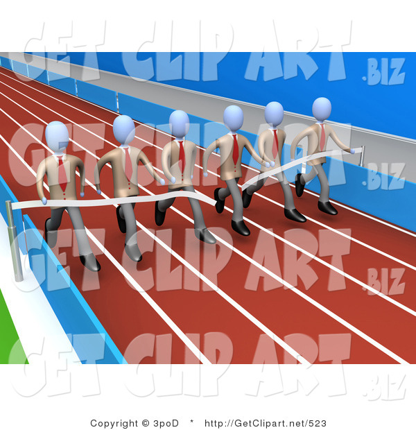 3d Clip Art of a Team of Businessmen in Matching Uniforms, Running a Marathon on a Race Track and Finishing a Race at the Same Time