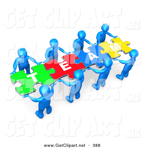 "3d Clip Art of a Team of Eight Blue People Holding up Connected Pieces to a Colorful Puzzle That Spells out ""Team,"" Symbolizing Excellent Teamwork, Success and Link Exchanging"