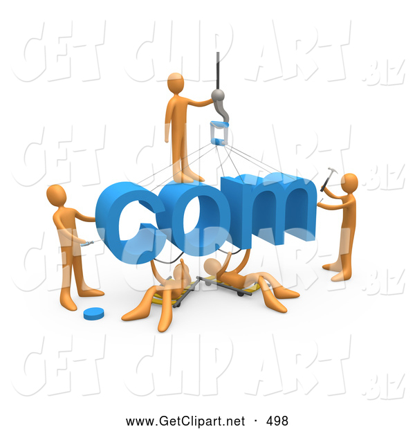 3d Clip Art of a Team of Five Orange People Constructing the Word Com, Symbolizing a Website Under Construction