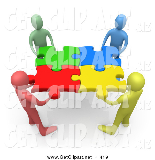 3d Clip Art of a Team of Four Diverse People Holding up Connected Pieces to a Colorful Puzzle, Symbolizing Excellent Teamwork, Success and Link Exchanging