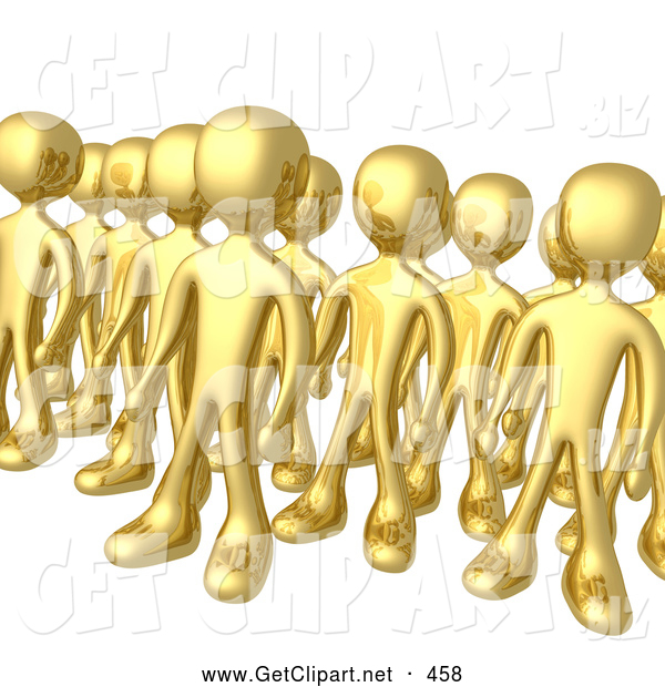 3d Clip Art of a Tight Group of Gold Men Standing Proud in Rows