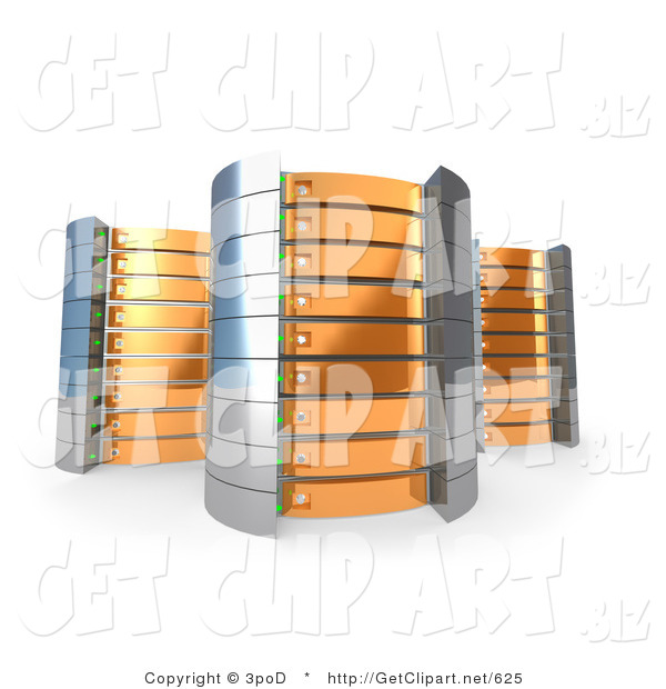 3d Clip Art of a Trio of Orange Towers of Server Racks