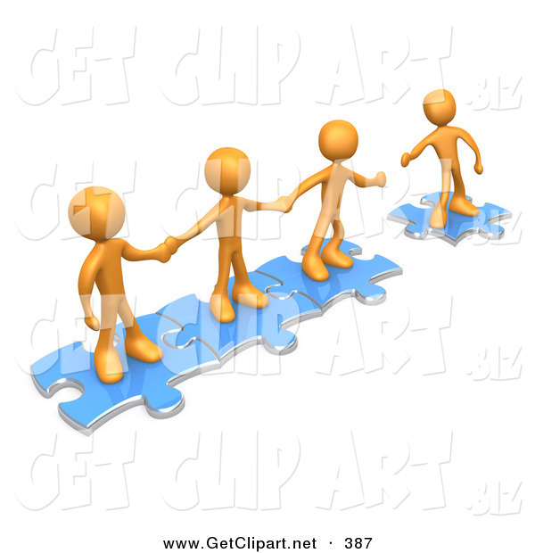 3d Clip Art of a Trio of Successful Orange People Holding Hands and Standing on Blue Puzzle Pieces, with One Man Reaching out to Connect Another to Their Group