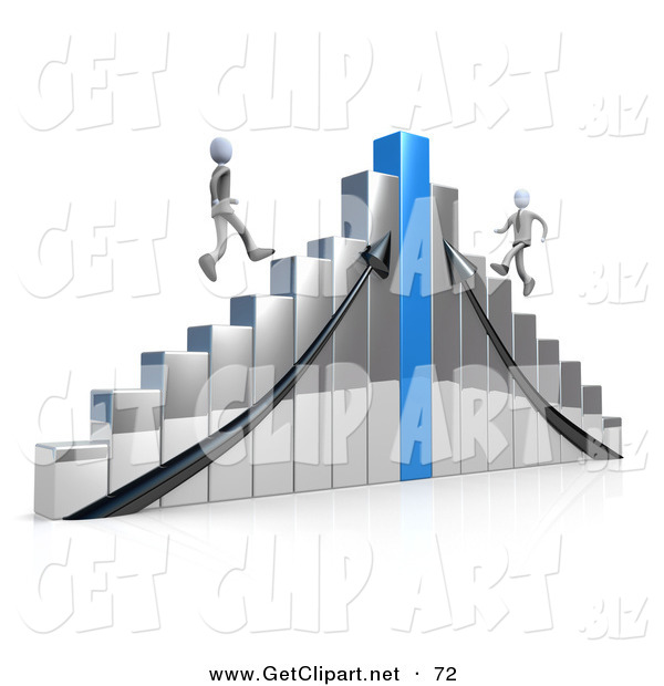 3d Clip Art of a Two Competitive Businessmen Racing up Different Sides of an Ascending Chrome and Blue Bar Graph Chart