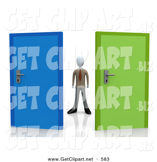 3d Clip Art of a Uncertain Businessman Standing Between a Blue and a Green Door, Trying to Decide Which Career Path to Take After Graduating