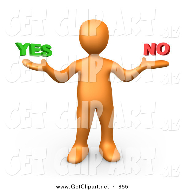 3d Clip Art of a Uncertain Orange Man Shrugging and Weiging out the Options of Yes or No on White