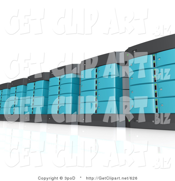 3d Clip Art of a Wall of Blue and Black Computer Server Towers