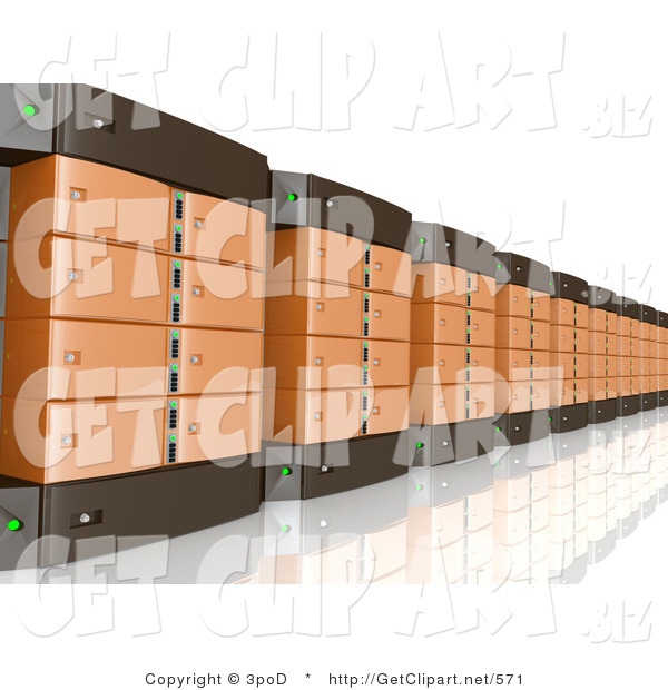 3d Clip Art of a Wall of Orange and Black Computer Server Towers