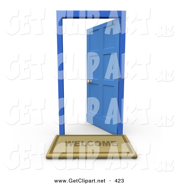 3d Clip Art of a Welcome Door Mat in Front of an Open Blue Door on White