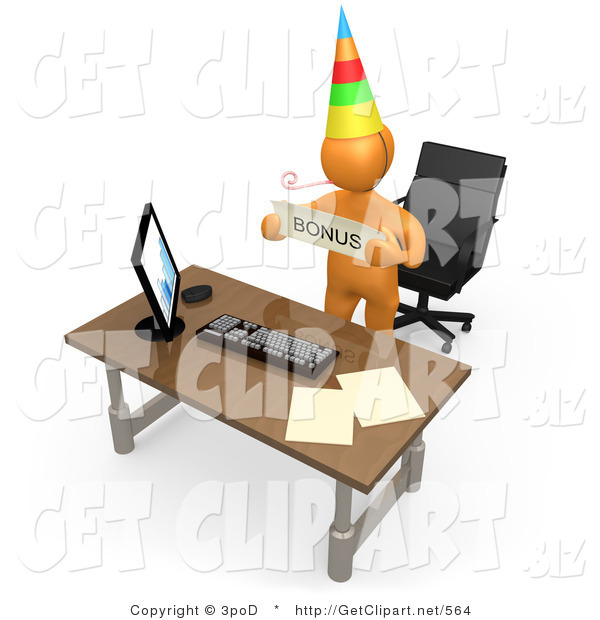 3d Clip Art of a Well Deserving Orange Figure Employee Wearing a Party Hat and Blowing on a Noise Maker While Standing Behind His Computer Desk and Holding a Bonus Sign