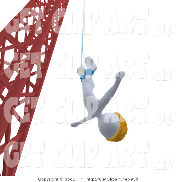 3d Clip Art of a White Bungee Jumper Man in a Yellow Helmet, Falling While Bungee Jumping from a Crane