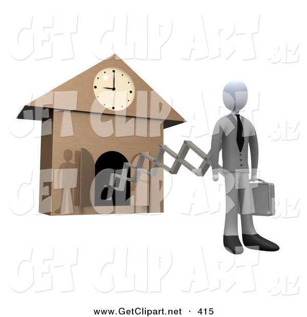3d Clip Art of a White Businesperson in a Suit, Holding a Briefcase and Sticking out from an Arm of a Cuckoo Clock upon the Hour of 9am, Symbolising the Start of a New Work Day, or Punctuality