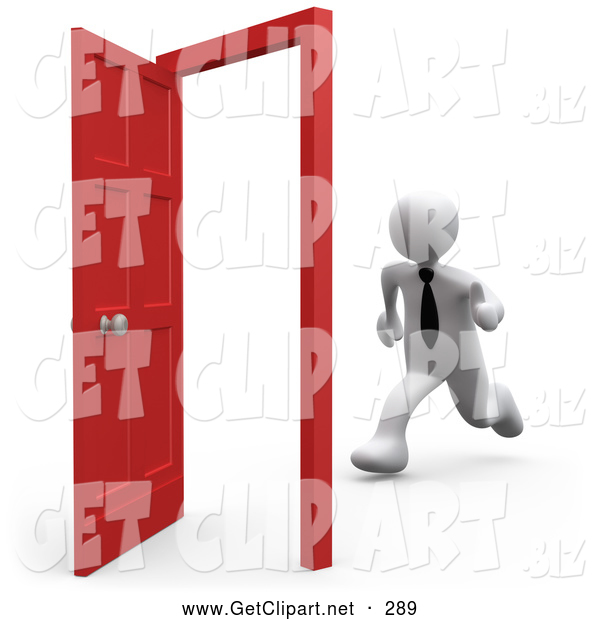 3d Clip Art of a White Business Person Running Towards an Open Opportunity Door
