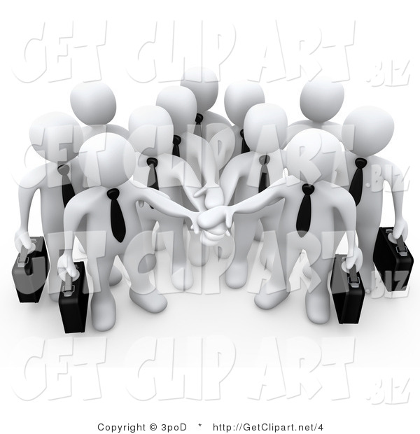 3d Clip Art of a White Business Team Stacking Their Hands