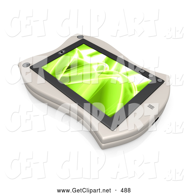 3d Clip Art of a White Handheld Organizer with a Green Wavy Screen Saver or Desktop