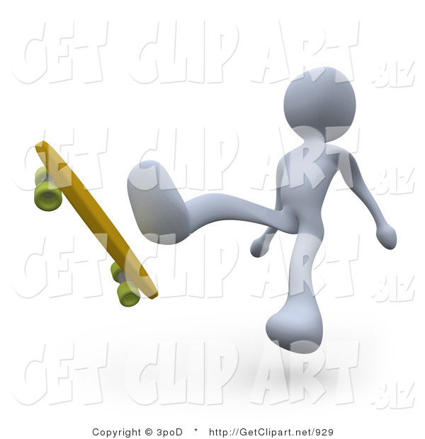 3d Clip Art of a White Man Falling Backwards off of Their Skateboard While Trying to Do a Trick