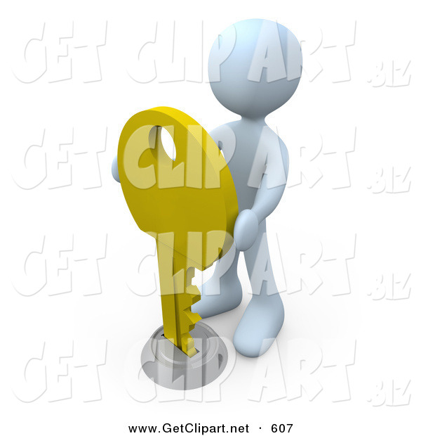 3d Clip Art of a White Man Inserting a Large Golden Key into a Keyhole, Symbolising Success, Security or Secrecy