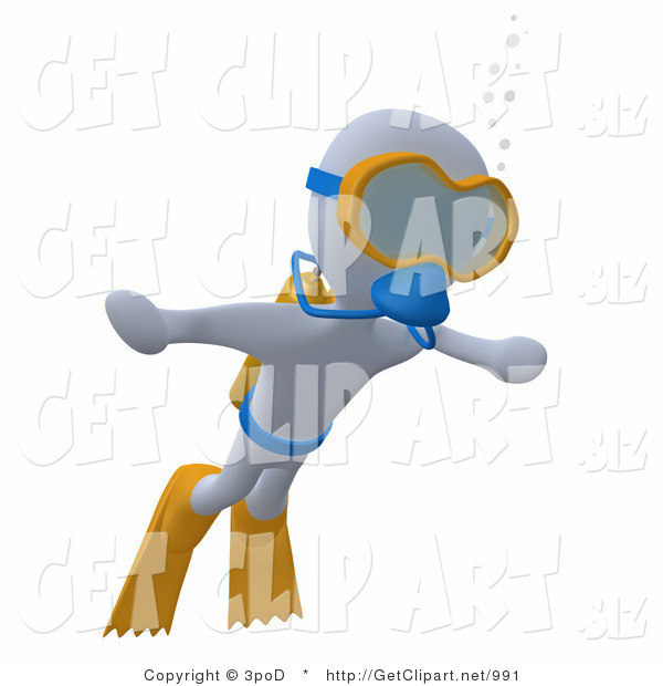 3d Clip Art of a White Man Swimming Underwater While Scuba Diving, Wearing Goggles, Flippers and an Oxygen Tank