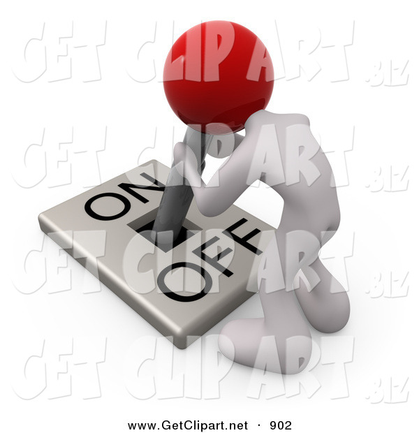 3d Clip Art of a White Man with a Red Head Attached to an On/off Switch Lever, Crouching over and Struggling to Turn the Switch on