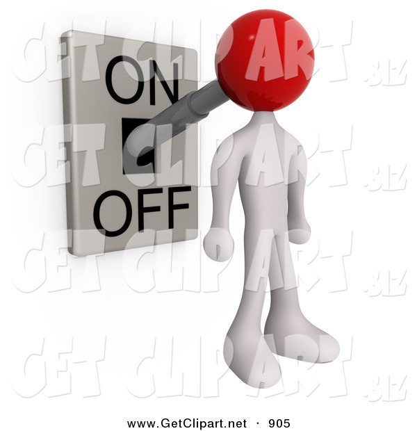 3d Clip Art of a White Man with a Red Head Attached to an On/off Switch Lever, Set to on
